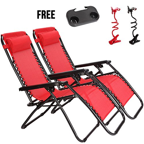 Idealchoiceproduct 2-Pack Zero Gravity Outdoor Lounge Chairs Patio Adjustable Folding Reclining Chairs With Free Cup/Drink Utility Tray & Cell Phone Holder - Red Color, 2pcs by Idealchoiceproduct