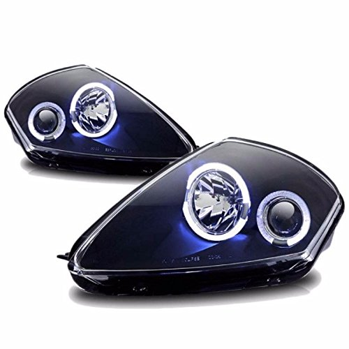 Black Housing Projector Dual Halo Headlight Lamps Compatible with Mitsubishi Eclipse 00-05 Front ()