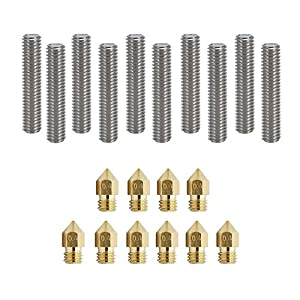 Soosee 3D Printer 10pcs 30MM Length Extruder 1.75mm Tube + 10pcs 0.4mm Brass Extruder Nozzle Print Heads for MK8 Makerbot Reprap 3D Printers from Soosee
