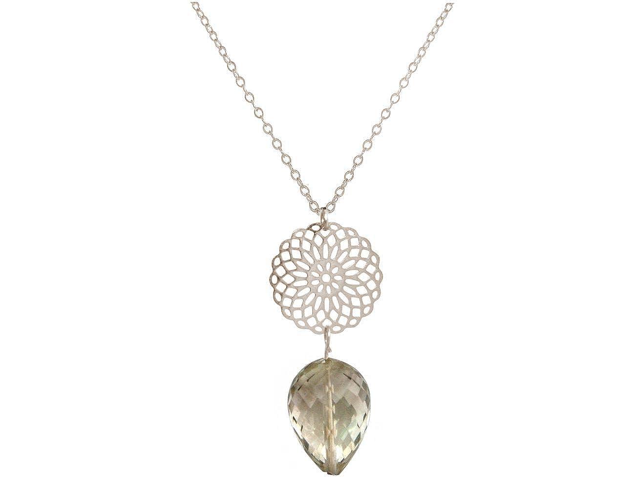 vergoldet oder rose GEMSHINE Damenhalskette Mandala Rauchquarz Silber