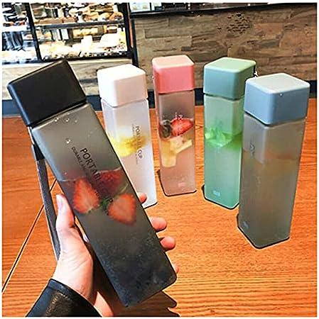 Taza de agua transparente cuadrada mate taza de agua para deportes al aire libre, taza de agua portátil (color F)