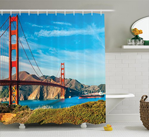 Ambesonne Apartment Decor Collection, Golden Gate San Francisco USA Clear Summer Sky Sunny Day Ocean Stones Touristic Place Image, Polyester Fabric Bathroom Shower Curtain, 84 Inches Extra Long, - On Sc Broadway Beach The