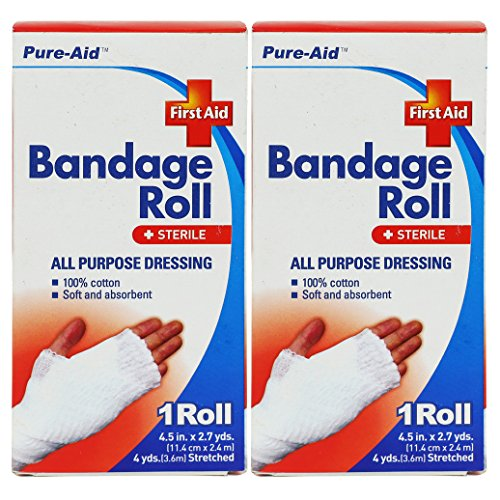 Pure-Aid All Purpose Dressing Bandge Roll 4.5inch x 2.7yds-1roll (2 (All Purpose Burn Dressing Sterile)