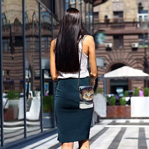 HYJUK Mobiltelefon crossbody väska blå öga utskuren kvinnor PU-läder mode handväska med justerbar rem