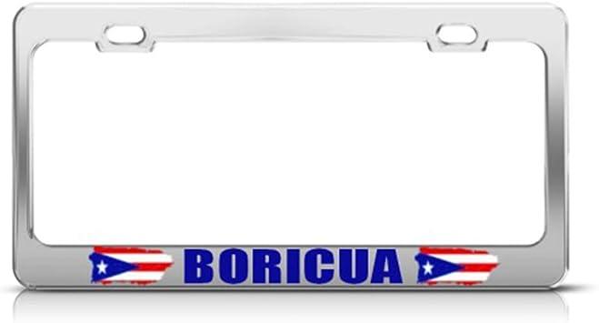 Speedy Pros Metal License Plate Frame Puerto Rico 100/% Boricua Country Car Accessories Chrome 2 Holes