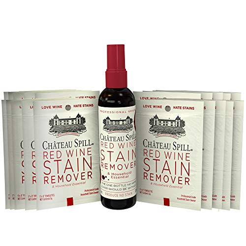 (Chateau Spill Red Wine Stain Remover Kit (1 x 4oz Bottle & 10 Individual Wipes) | Wine Stain Remover for Clothes | Fabric Stain Remover | Gets The Red Out | Great Wine Accessories)
