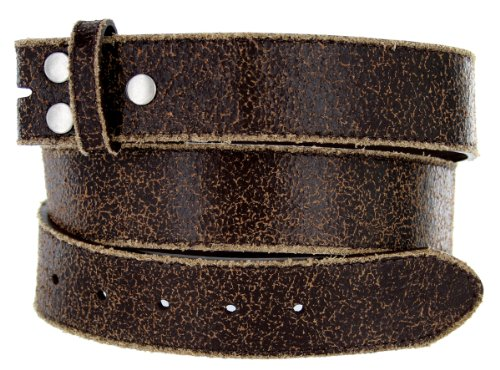 Vintage Look Distressed Leather Strap Belt Snap on for Buckles(Brown,42)
