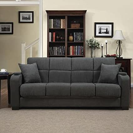 Tyler Microfiber Storage Arm Convert-a-couch Sofa Sleepr Bed, Gray, Designed with a Storage Area and Cup Holder Built Into Each Arm