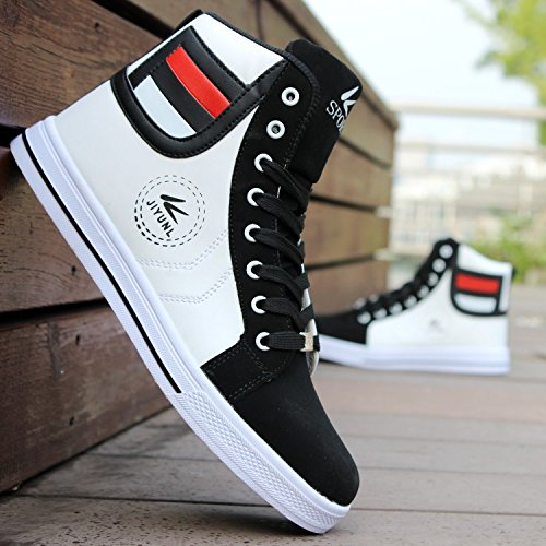 Mens Round Toe High Top Sneakers Casual Lace Up Skateboard Shoes Newest Style(3 Colors)