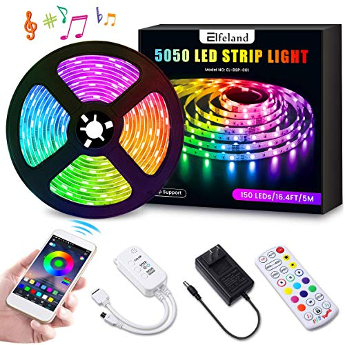 Music Activated Led (LED Strip Lights, Elfeland 16.4ft LED Light Strip SMD5050 RGB Tape Lights Color Changing Rope Lights Work with App Sync with Music Flexible Strip Lights Kit for TV, Bedroom,Party, Home)