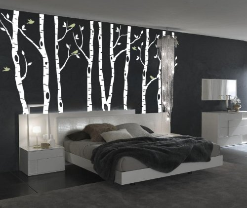 Innovative Stencils Birch Tree Wall Decal Forest with Snow Birds and Deer Vinyl Sticker Removable (9 Trees) #1161 (White Trees - Dark Gray Animals, 96'' (8ft) Tall) by Innovative Stencils (Image #2)