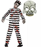 Zombie Convict Prisoner Halloween Costume with Mask Age 4-13 (4-6 years)
