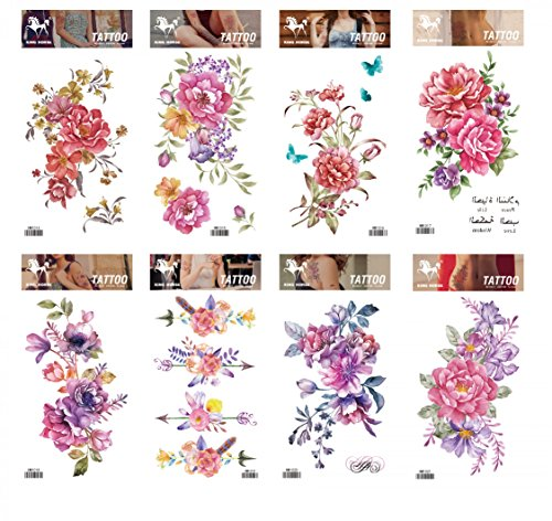 GGSELL GGSELL tattoo 8pcs mixes flower temporary tattoos in one packages,including colorful pink,red,purple flowers poney temporary tattoos -