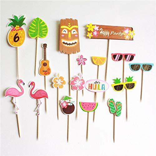 18Pcs /Set Flamingo Watermelon Pineapple Glasses Toothpick Cake Decoration Plug Hawaiian Party Insert Deco.Q]()