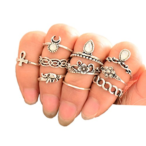 SUNSCSC Vintage Retro Silver Plated Elephant Moon Crystal Joint Knuckle Nail Ring Set of 10pcs - Rings
