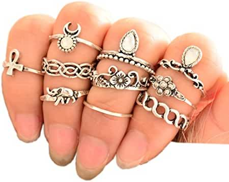 SUNSCSC Vintage Retro Silver Plated Elephant Moon Crystal Joint Knuckle Nail Ring Set of 10pcs