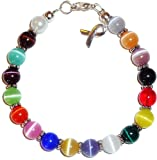 Prepackaged (7 3/4 in.) Cancer Awareness Bracelet 18 Colors, 8mm
