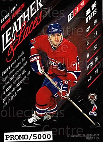 (CI) Pierre Turgeon Hockey Card 1996-97 Leaf Leather And Laces Promo 18 Pierre Turgeon