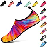 VIFUUR Water Sports Shoes Barefoot Quick-Dry Aqua Yoga Socks Slip-on for Men Women Kids Colorful-36/37