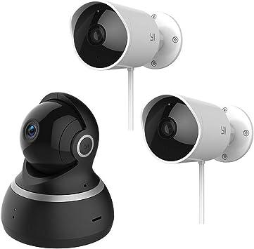 Amazon Com Yi Juego De Cámara De Seguridad Para Interior Exterior Sistema De Vigilancia Inteligente Para El Hogar Con Wifi De 1080p 2 4 G Con Respuesta De Emergencia 24 7 Detección De Movimiento Aplicación De