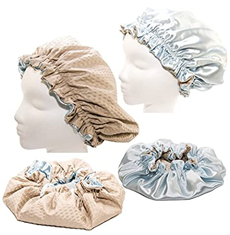 XXX Large 28 Inches- LT BLUE Shower Cap and Hair Bonnet (2 in 1 Satin & Microfiber Waterproof / Water Repellent Fabric CAP)