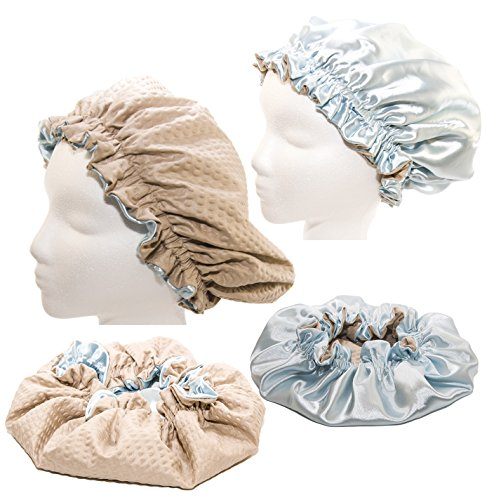Price comparison product image XX Large 26 Inches- LT BLUE Shower Cap and Hair Bonnet (2 in 1 Satin & Microfiber Waterproof / Water Repellent Fabric CAP)