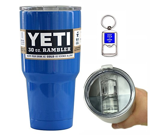 YETI Coolers 30 Ounce (30oz) (30 oz) Custom Rambler Tumbler Cup Mug with Exclusive Spill Resistant Lid (Royal Cubs Blue)