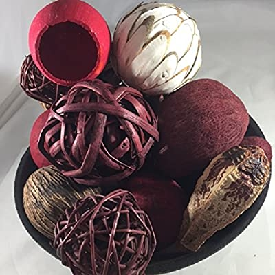 Decorative Spheres Cranberry and Maroon - Rattan Balls And Botanical Pods - Vase Filler - Chunky Bowl Filler - Wreaths For Door