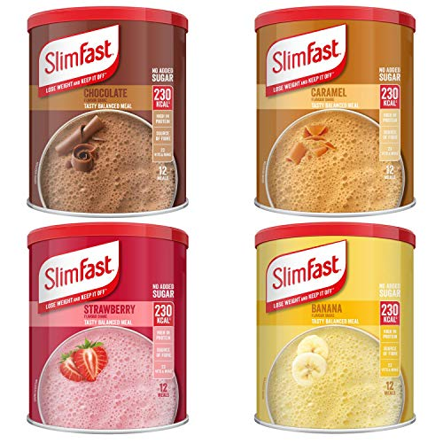 SlimFast KIT Made of 4 x High Protein Meal Replacements Shakes (Chocolate 300g, Summer Strawberry 292g, Banana 292g…