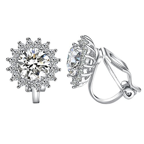 s For Women With Round Austrian Crystals Non Pierced Ears Clip-On Earrings (CZ Clip Earrings) ()