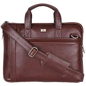 K London 14 Inches Slim Light Brown Vegan Leather Men Women Unisex Laptop MacBook Shoulder Messenger Office Bag (1808_Light_BRN)