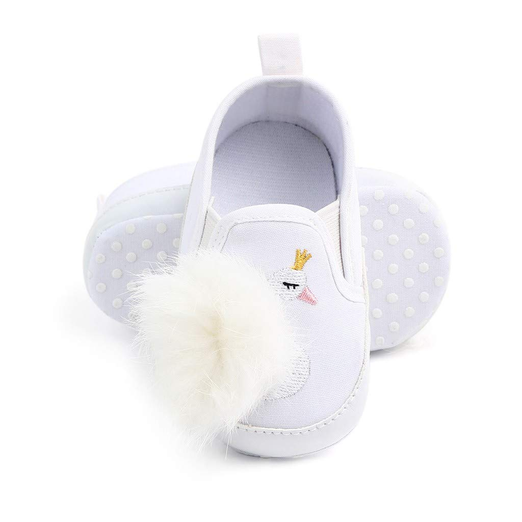 GorNorriss Baby Girl Shoes Newborn Toddler Swan Hairball Anti-Slip First Walkers Soft Sole Shoes