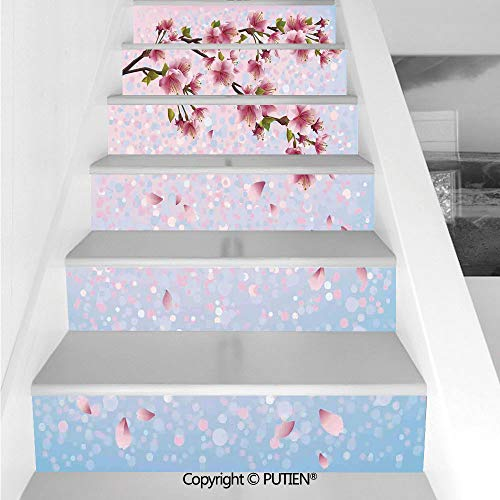 - PUTIEN Popular Stair Stickers Wall Stickers,6 PCS Self-Adhesive [ House Decor,Sakura Twig Blossom Leaves on
