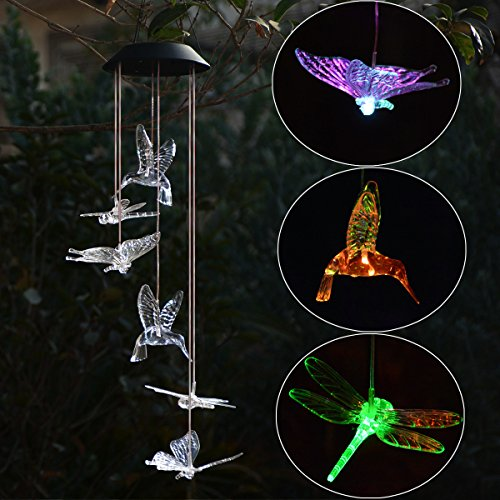 Dragonfly Chimes (Solar Light Up Wind Chimes, Homeleo Butteryfly Hummingbird Dragonfly Wind Chimes, Color Changing LED Mobile Windchimes for Outdoor Garden Patio Decoration)