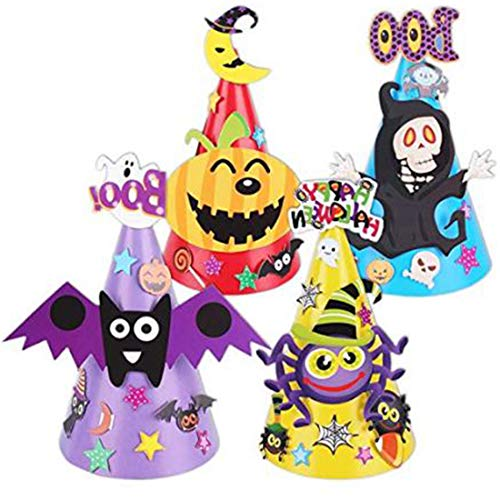 7Queen Halloween Party Hats Halloween Costume Cartoon DIY Paper Cap Ornament Hat for Children Kids (Skull Bat Pumpkin Spider) ()