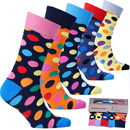 Socks n Socks-Men's 5-pair Luxury Cotton Polka Dotted Dots Dress Socks Gift Box