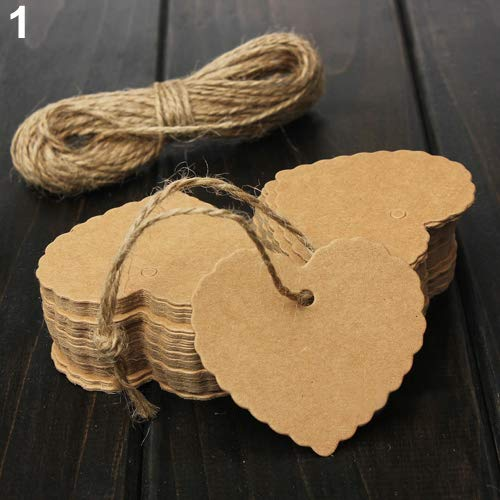 (Bookmarks for Students, Beautiful Gift Cards, yanQxIzbiu 100Pcs Vintage Blank Brown Kraft Paper Hang Tags Wedding Party Favor Cards Gift - Heart-Shaped)