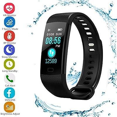 ONEBUYONE Reloj Inteligente Unisex Pulsera Inteligente Apoyo presión Arterial oxígeno monitoreo Ritmo cardíaco Smart Band Fitness para iOS Android: ...