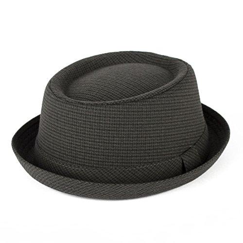 Men's Ladies Pork Pie Hat Houndstooth/Dogtooth With Dark Grey Band - Dark Grey (57/M)