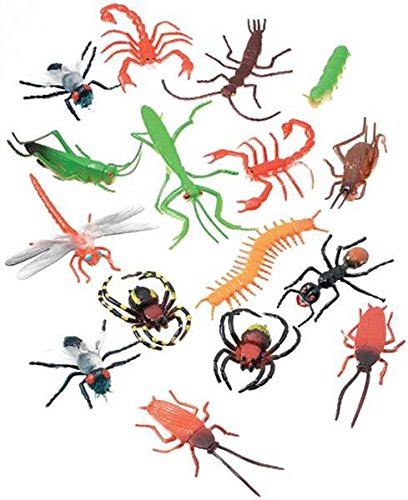 "Darice 16 pc – 2"" Long Plastic Bugs and Arachnids – for Playtime, Party Décor, Cupcake Toppers, Sensory Bins – Use in The Bath or Sandbox-Kids Love These Colorful Insects"