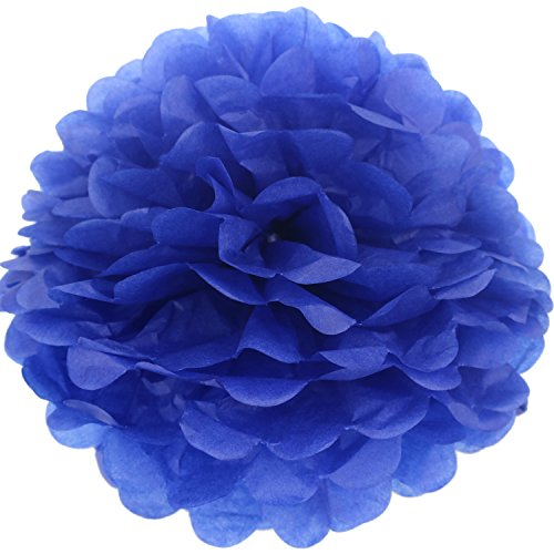 Lightingsky 10pcs DIY Decorative Tissue Paper Pom-poms Flowers Ball Perfect for Party Wedding Home Outdoor Decoration (10-inch Diameter, Blue 3)