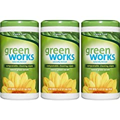 Green Works Compostable Cleaning Wipes are made with naturally derived ingredients so they won't leave behind harsh chemical fumes or residue. The powerful advanced grease fighting formula cuts through grease, grime and dirt, while leaving be...