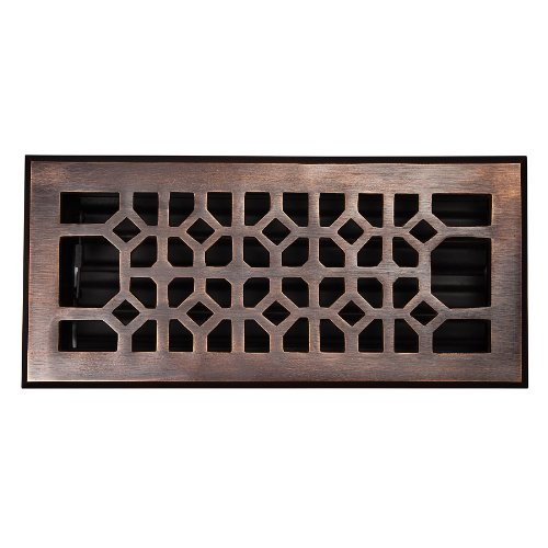 The Copper Factory CF140AN Solid Cast Copper Decorative 4-Inch by 10-Inch Floor Register with Damper, Antique (Antique Copper Cast)