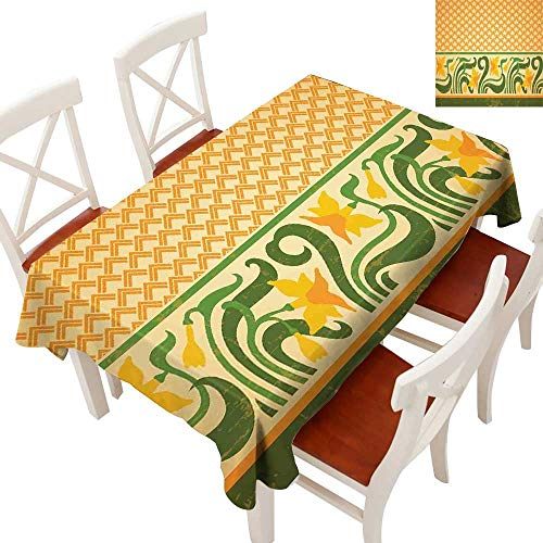 Art Nouveau Elegant Waterproof Spillproof Polyester Fabric Table Cover Fresco Ornament Geometric Pattern with Exotic Daffodil Floral Border Tablecloths for Rectangle/Oblong/Oval TablesOrange Yellow G ()