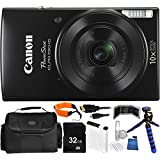 Canon PowerShot ELPH 190 IS Digital Camera (Black) - International Version (No Warranty) 32GB Bundle 15PC Accessory Kit Which Includes Replacement NB-11L Battery, 5 Piece Camera Cleaning Kit, MORE