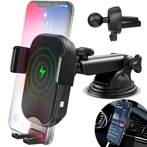 Wireless Charger Car Phone Mount, Squish Fast Charging Qi Wireless Car Charger, Auto Clamping Car Phone Holder for Air Vent Dashboard for iPhone Xs Max/XS/XR/X/8Plus/8 and Samsung S10 S9 S8 Note 9 8 7 ()