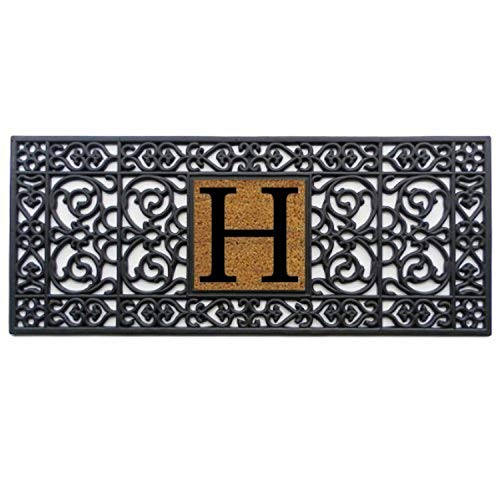 "Home & More 170011741H Doormat, 17"" x 41"" x 0.60"", Monogrammed Letter H, Black"