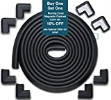 Roving Cove Edge Guards & Corner Guards set - Jumbo Onyx (black) - Safe Edge & Corner Cushion - PRE-TAPED CORNERS; Childproofing; Baby Safety; Furniture Bumper; Baby Proofing; Table Protector