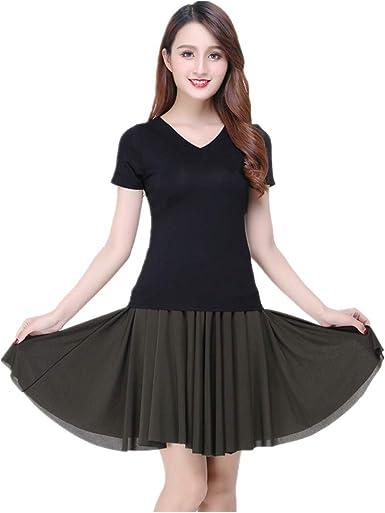 Womens Latin Salsa Tango Rumba Cha Cha Square Ballroom Dance Dress Skirt Black