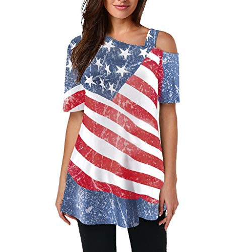 Independence Day Fashion Women Off Shoulder American Flag Printed T-Shirt Short Sleeve Blouse (XXL, Multicolor)